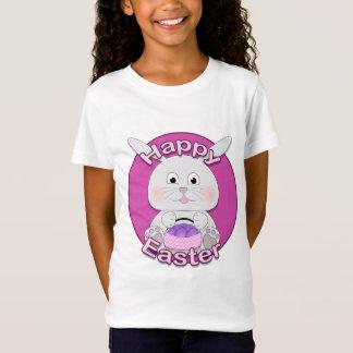 T-Shirt Fille de lapin rose mignonne avec le panier