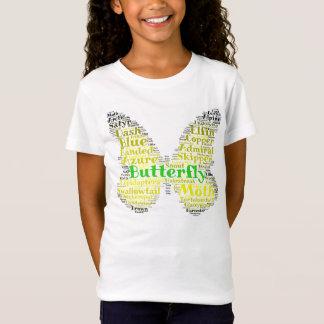 T-Shirt Fille de pièce en t de motif de mot de papillon