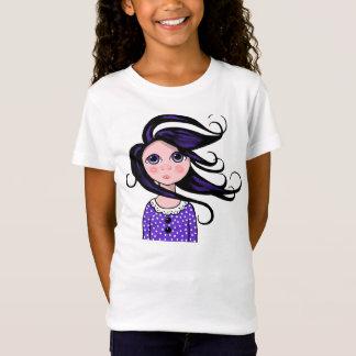 T-Shirt Fille Grand-Eyed, cheveux bouclés, jour venteux,