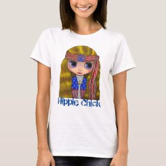 T-shirt Fille hippie des années 1960 de poussin dans la
