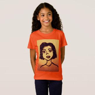 T-Shirt Fille mignonne d'Africain de bande dessinée