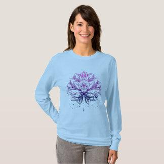 T-shirt Flo pourpre doux élégant d'aquarelle Lotus/lis