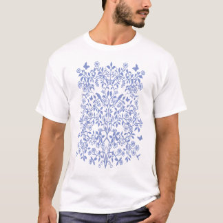 T-shirt floral bleu de vignes de damassé
