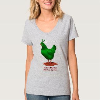 T-shirt Futur agriculteur martien vert drôle de poulet