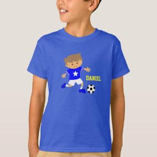 T-shirt Garçon mignon d'étoile du football, thème du