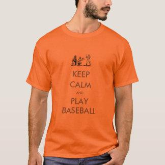 T-shirt Gardez le base-ball calme de chemise