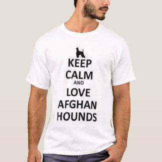 T-shirt Gardez le calme et aimez les lévriers afghans