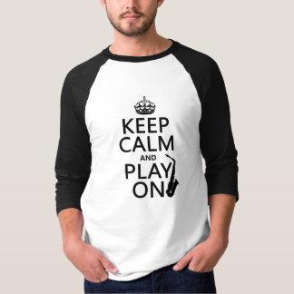 T-shirt Gardez le calme et le jeu sur (saxophone) (toute