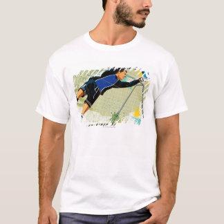 T-shirt Gardien de but du football bloquant la boule