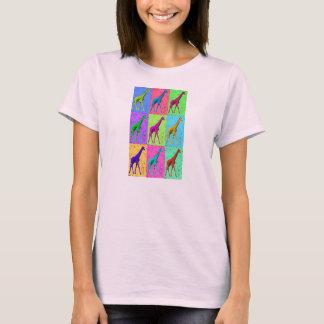 T-shirt Girafe de marche de Popart d'art de bruit