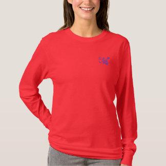 T-shirt Glyphs orientaux de calligraphie - rose et bleu