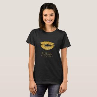 T-shirt Grand maquilleur de lèvres de scintillement noir