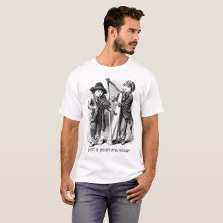 T-shirt Gravure du bois d'antiquité pauvre de musicien