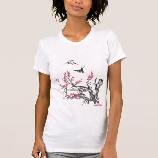T-shirt Gravure sur bois asiatique antique en cerise avec