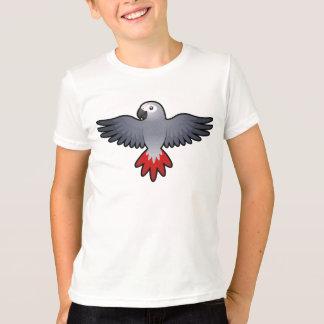 T-shirt Gris africain de bande dessinée/Amazone/perroquet