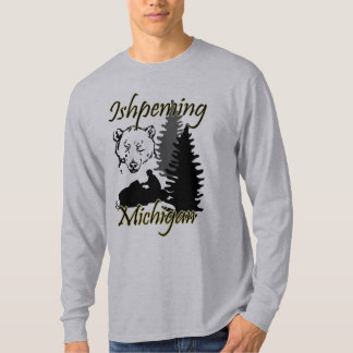 T-shirt Gris de l'ours LS de Snowmobile d'Ishpeming