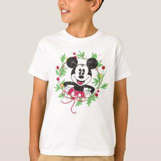 T-shirt Guirlande vintage de Noël de Mickey Mouse |