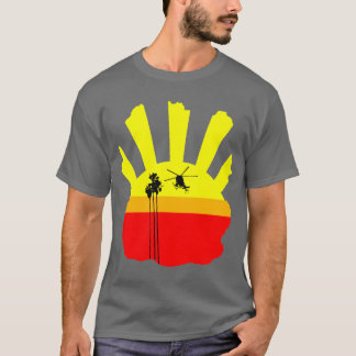 T-shirt Hélicoptère, palmier, coucher du soleil