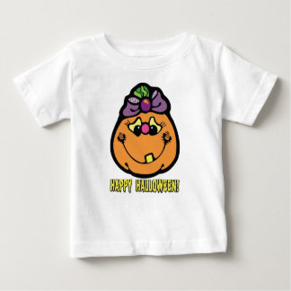 T-shirt heureux de citrouille de fille de
