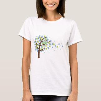 T-shirt Hibou venteux bleu d'arbre