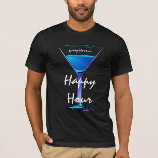 T-shirt Hommes bleus de cocktail d'heure heureuse de