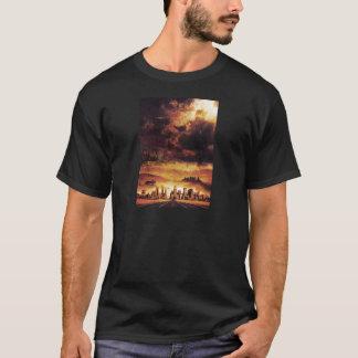 T-shirt Horizon apocalyptique rouge foncé artistique et