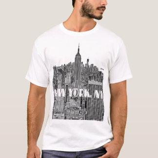 T-shirt Horizon de regard gravé à l'eau-forte par NYC d'en