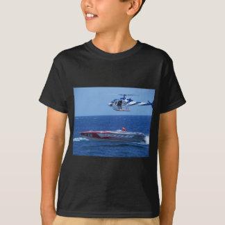T-shirt Hors-bord et hélicoptère en mer