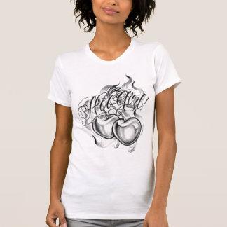 T-shirt hot girl cherry tattoo