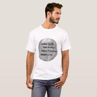 T-shirt humain d'amour de liberté de la terre