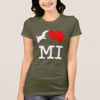 T-shirt I ♥ MI coeur Michigan) foncé, petite copie (d'I