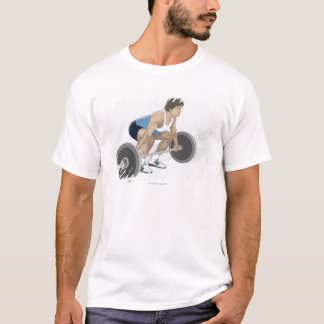 T-shirt Illustration de l'homme se tapissant préparant