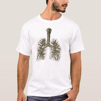 T-shirt Illustration humaine de cru d'anatomie de poumon