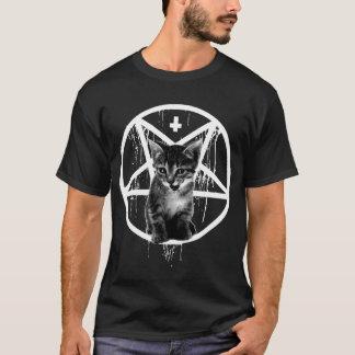 T-shirt inversé de chat de croix et de pentagone
