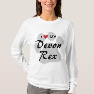 T-shirt J'aime (coeur) mon chat Pawprint de Devonshire Rex