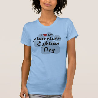 T-shirt J'aime (coeur) mon chien esquimau américain