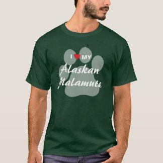 T-shirt J'aime (coeur) mon Malamute d'Alaska