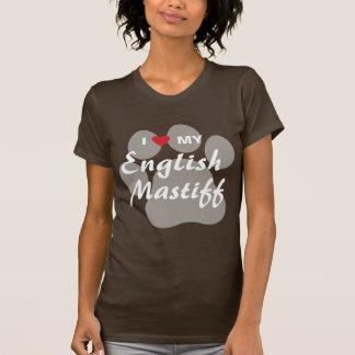 T-shirt J'aime (coeur) mon mastiff anglais Pawprint