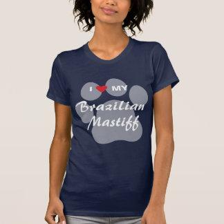 T-shirt J'aime (coeur) mon mastiff brésilien Pawprint