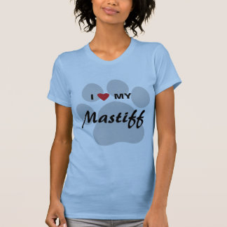 T-shirt J'aime (coeur) mon mastiff Pawprint