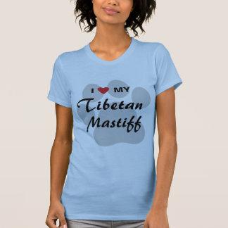 T-shirt J'aime (coeur) mon mastiff tibétain Pawprint