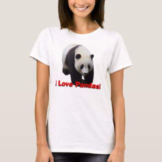 T-shirt J'aime des pandas ! Le bébé des femmes de panda