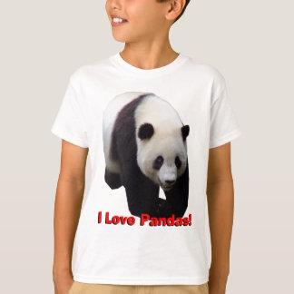 T-shirt J'aime des pandas ! Le panda géant badine la