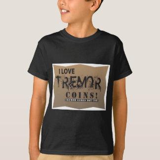 T-shirt j'aime des pièces de monnaie de tremblement