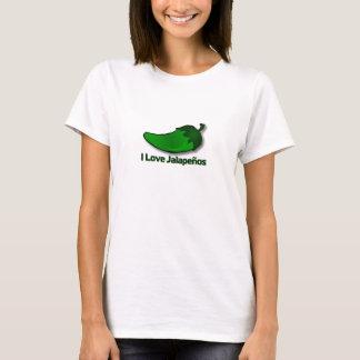 T-shirt J'aime la chemise des femmes de Jalapenos