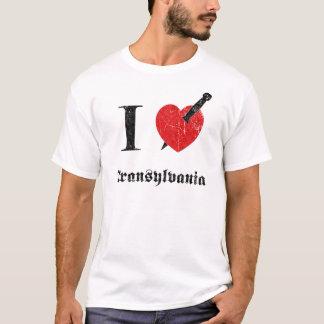 T-shirt J'aime la Transylvanie (la police érodée par noir)
