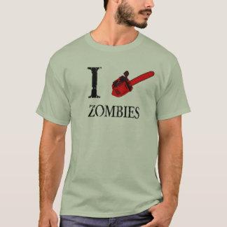 T-shirt j'aime la tronçonneuse de chemise de zombis
