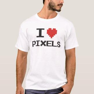 T-shirt J'aime le rétro gamer 8bit de coeur pixelated par