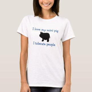 T-shirt J'aime mon mini porc, je tolère des personnes