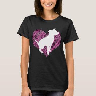 T-shirt J'aime Pitbull sur la pièce en t rose de coeur